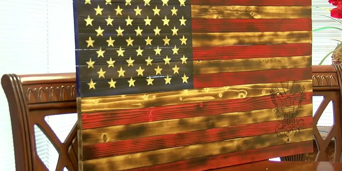 Disabled veteran makes specialized wooden American flags for fellow veterans