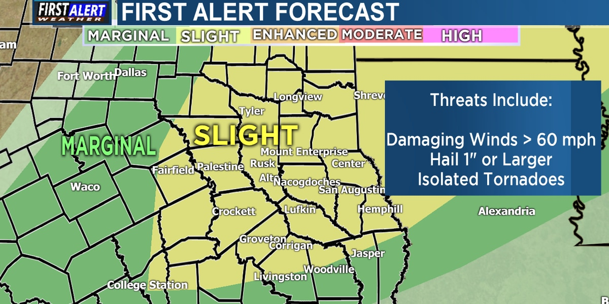 Slight Risk for severe weather today in East Texas