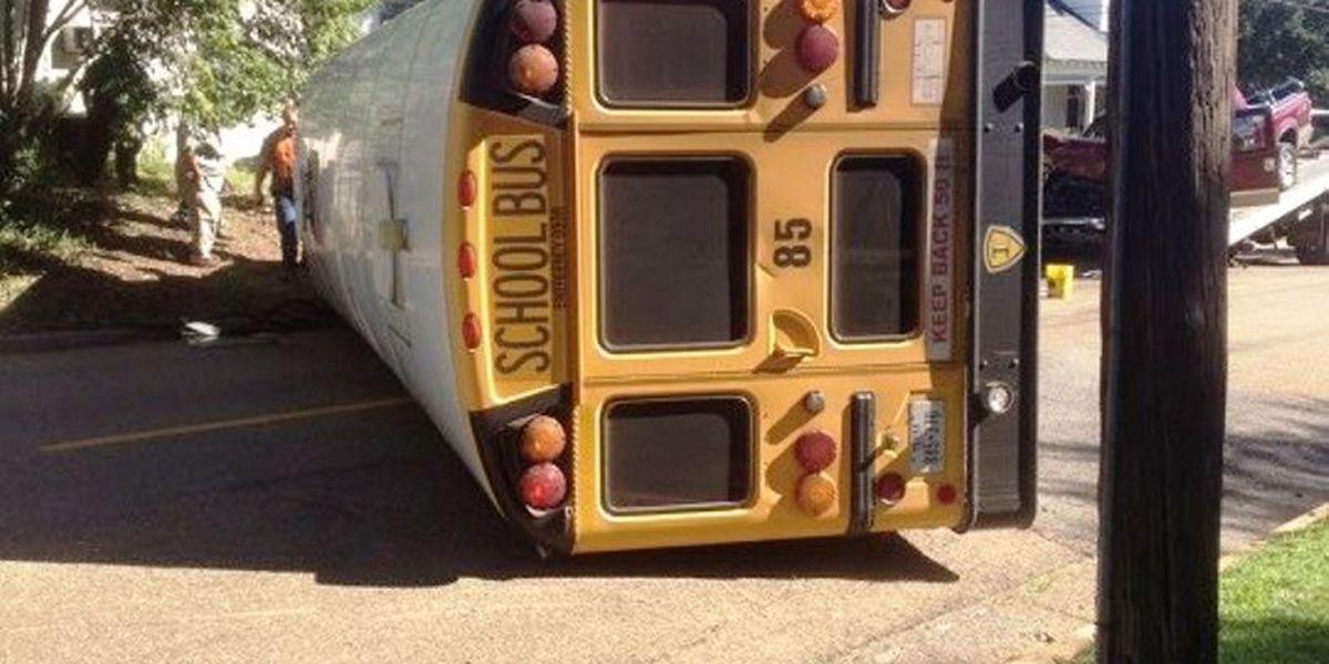 School bus flips over in Harrison Co.