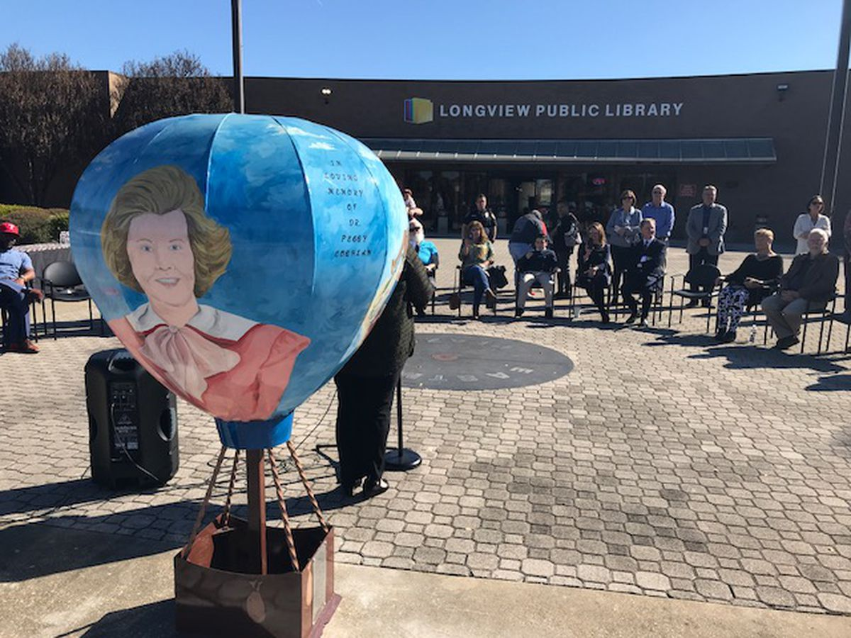 Longview Public Library unveils steel balloon sculpture for city's upcoming sesquicentennial