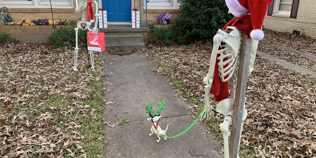 An anonymous Tyler community member decorates skeleton to spread holiday cheer