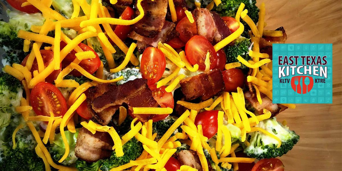 Broccoli salad with red onion and cheddar by Dudley's Cajun Cafe