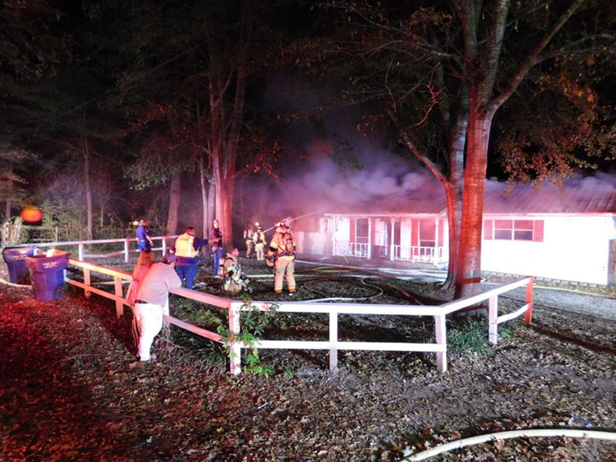 Three Angelina County fire departments battle house fire in Hudson area