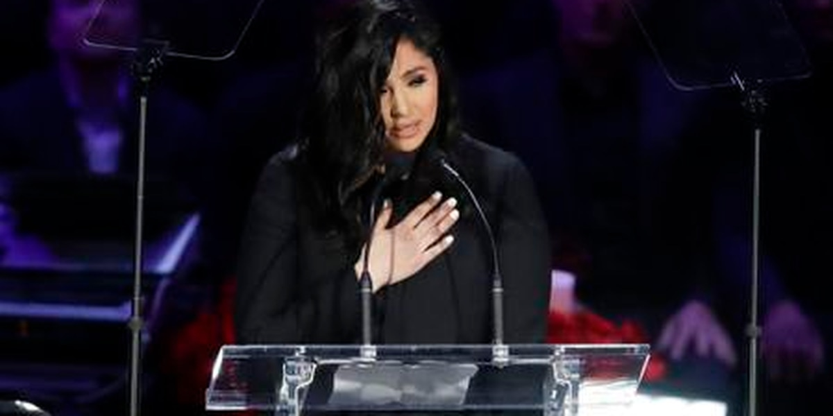 Vanessa Bryant speaks at the Kobe Bryant memorial at Staples Center