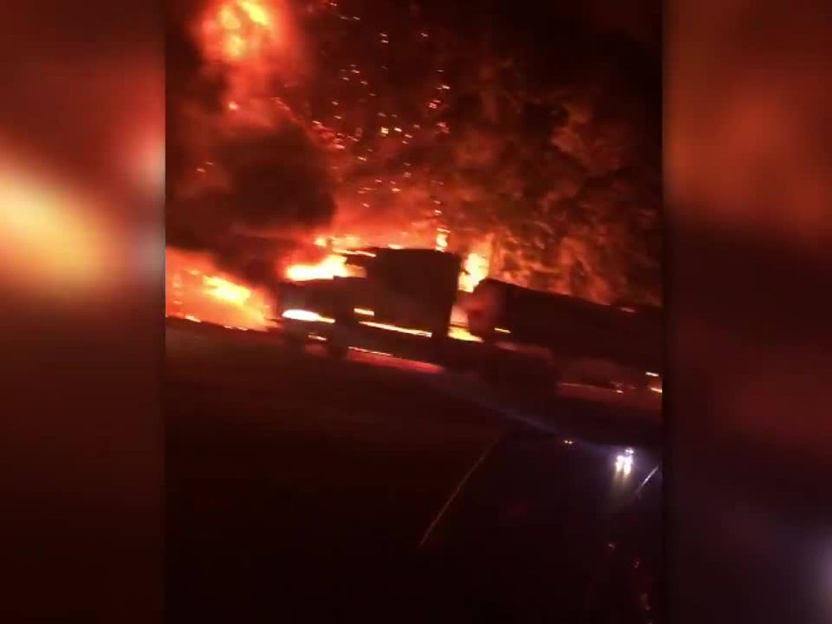 Several vehicles involved in fiery I-20 crash in Harrison County
