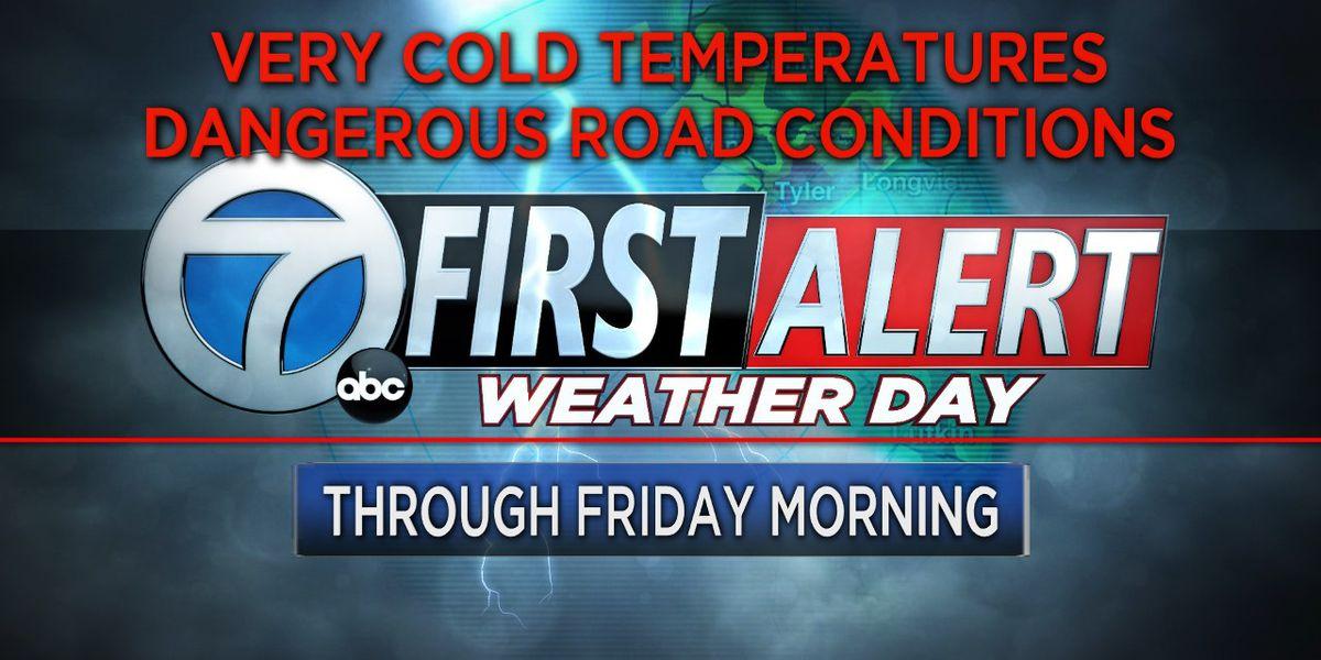 Hard freeze warning continues through Friday