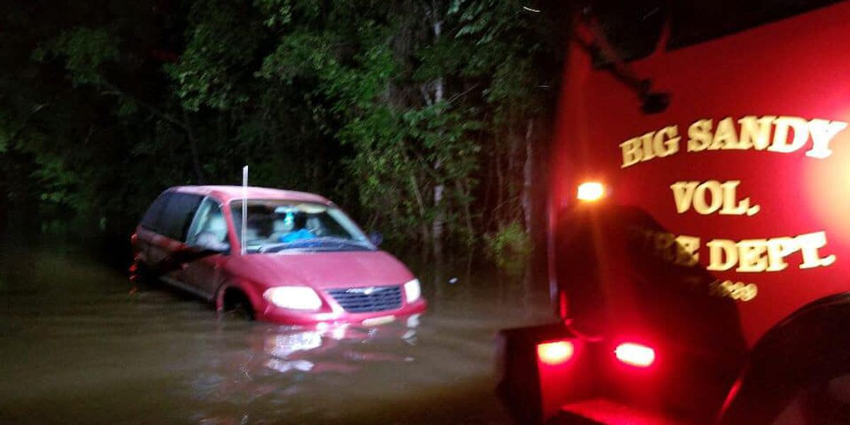 Big Sandy VFD rescues four people inside stranded vehicle