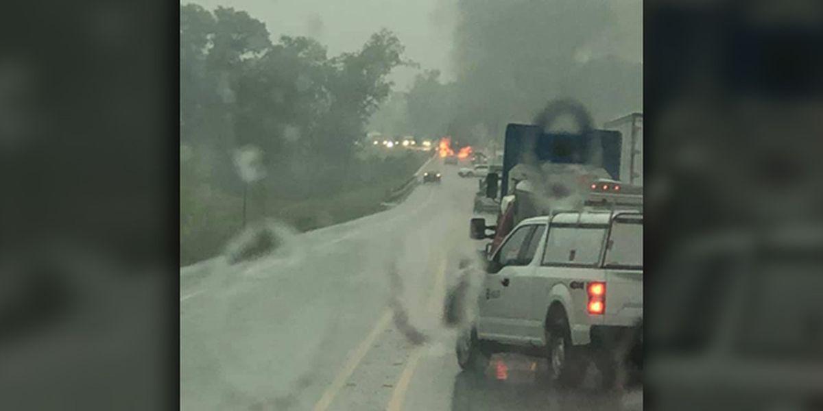Three killed in fiery crash on Toll 49