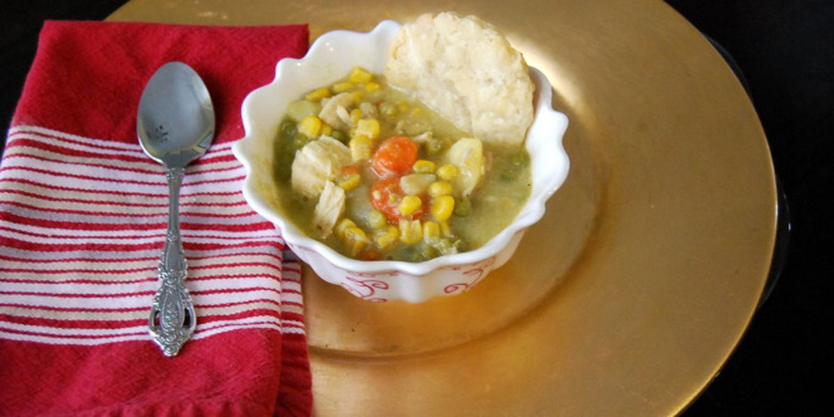 Creamy chicken pot pie soup by Mama Steph