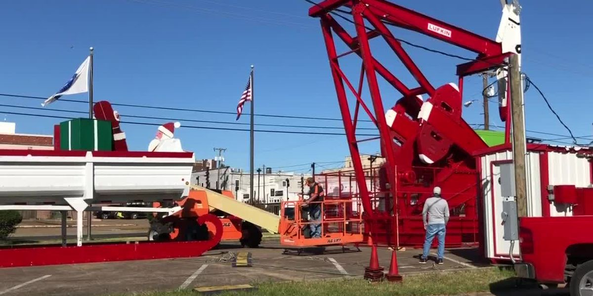 WEBXTRA: Rudolph the Red-Nosed Pumping Unit being set up in Lufkin