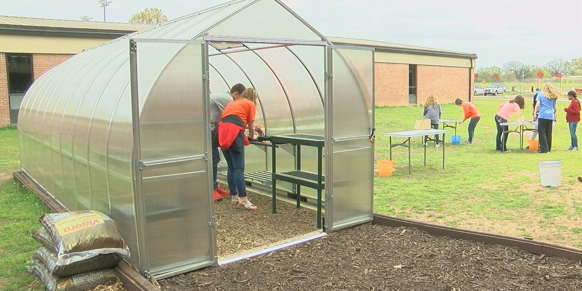 Mineola ISD students conduct hands-on experience with new greenhouse