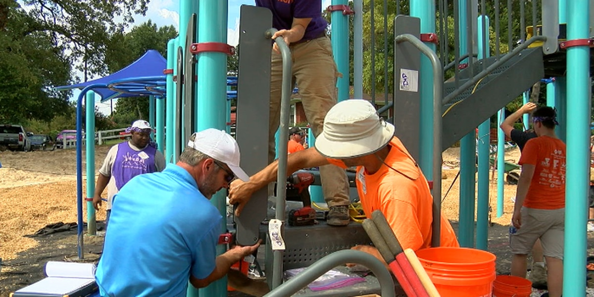 Volunteers build new playground at Gassaway Park in Tyler