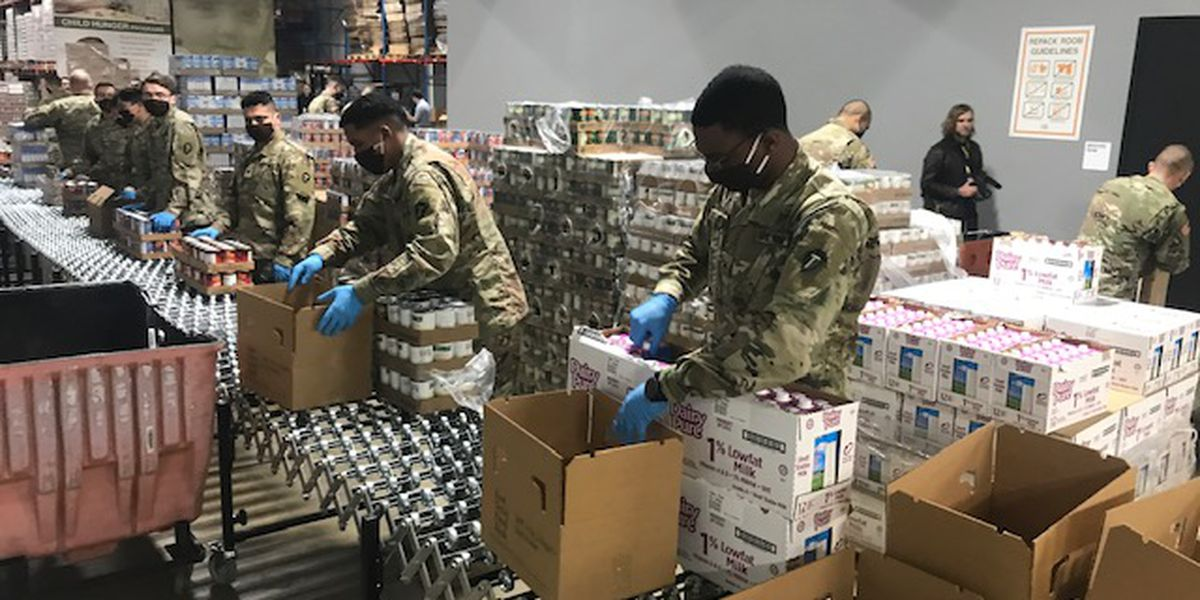 Texas National Guard assisting area food bank with distribution efforts following increase in demand