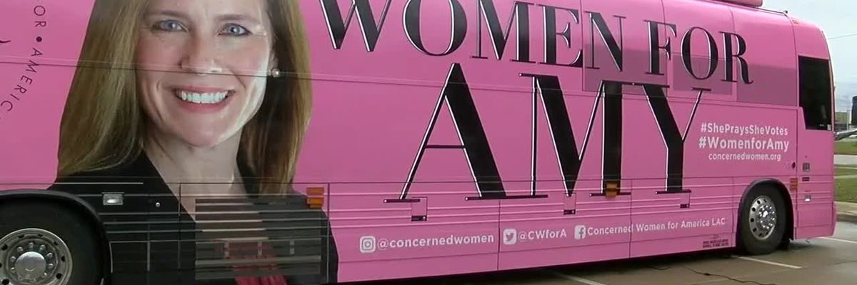 Women's group in support of SCOTUS nominee stumps with pink bus in Tyler