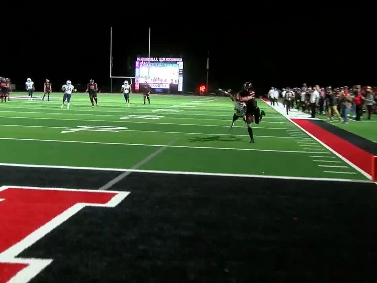WATCH: Marshall strikes first against Pine Tree with beautiful pass and catch