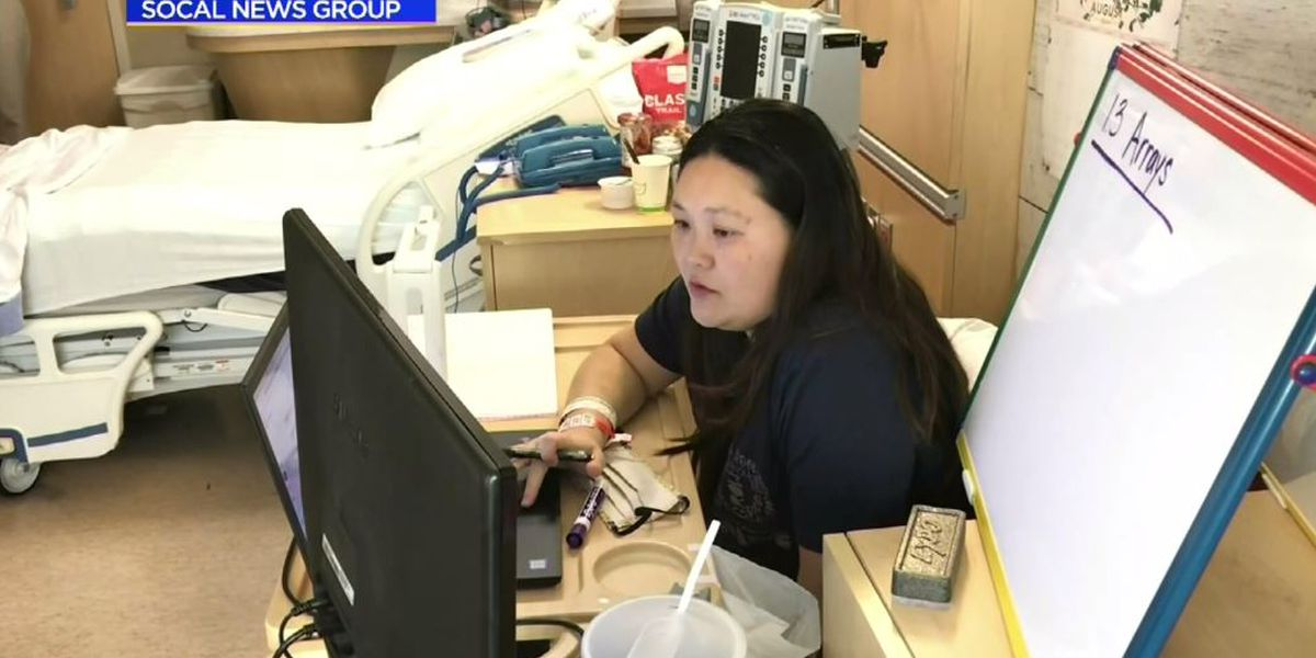 Pregnant teacher on bedrest instructs students from Calif. hospital room