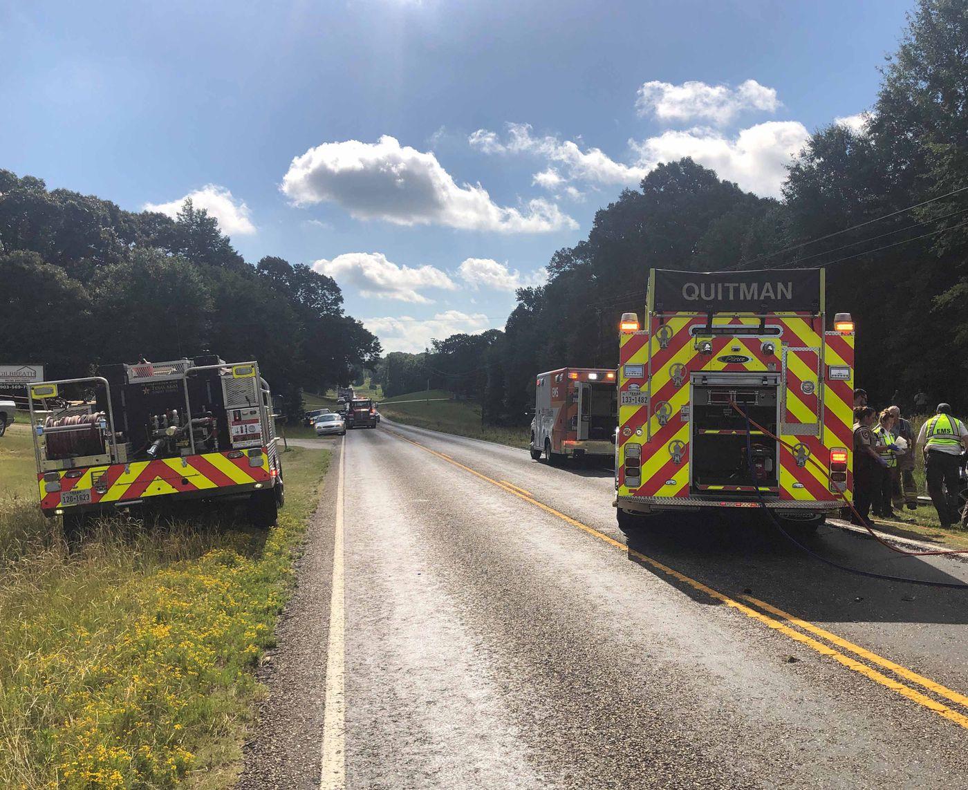 Four hospitalized following fiery wreck near Quitman