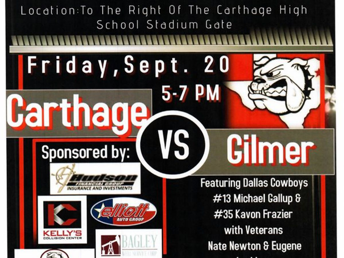 Several Dallas Cowboys coming to Carthage Bulldogs tailgate party Friday