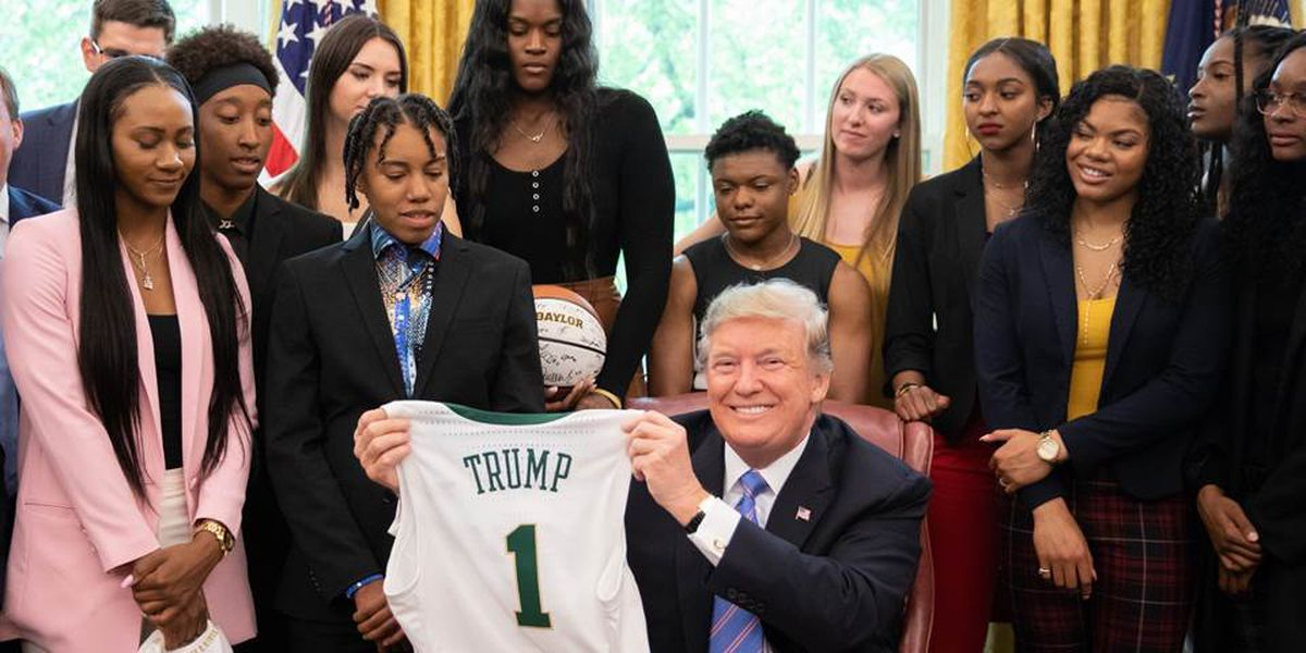 President Donald Trump welcomes Baylor Lady Bears basketball team to the White House