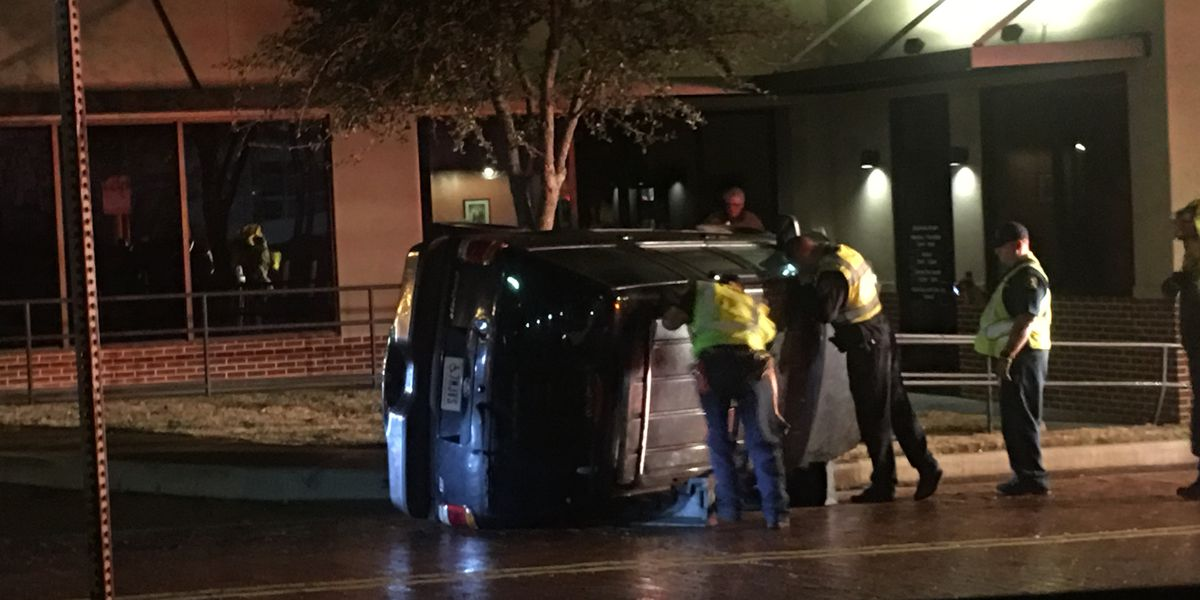 Car overturns in downtown Tyler intersection; EMS, firefighters, police on scene