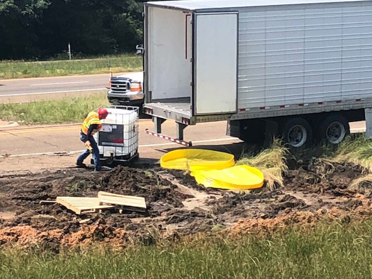 Truck loses load, spilling chemicals in East Texas