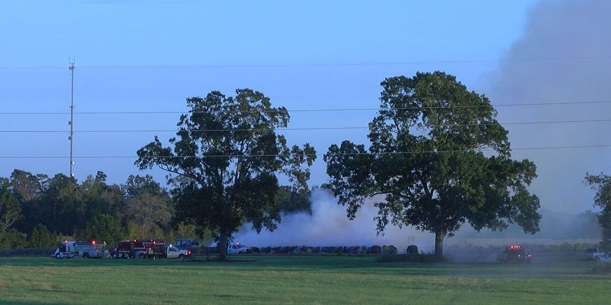 One hundred bales of hay go up in Smith County fire