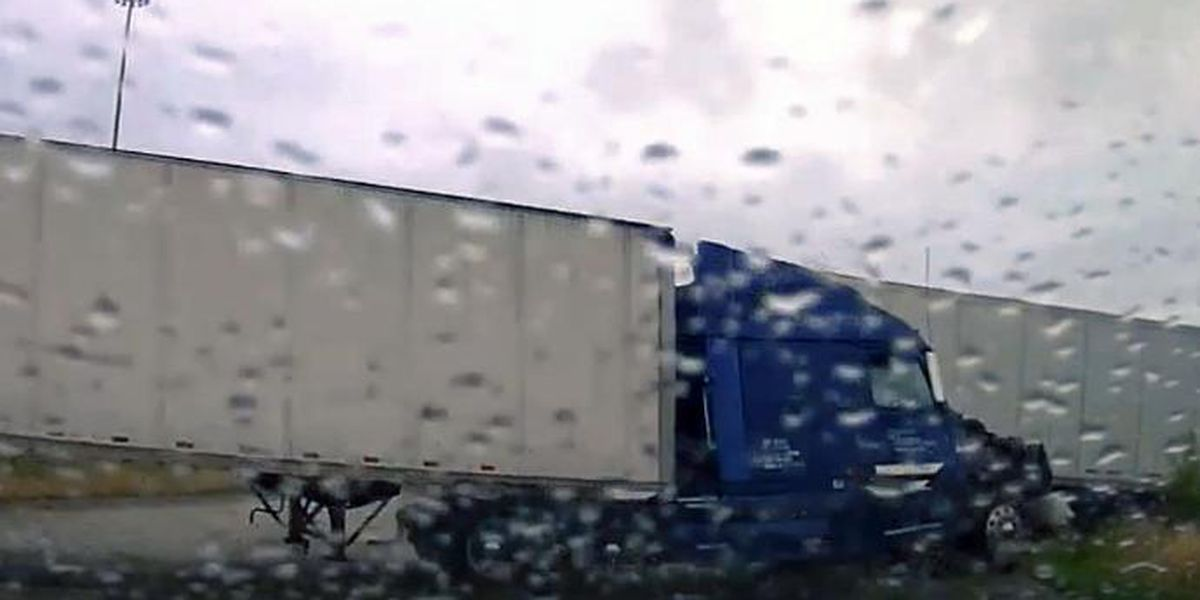 Texas police officer, troopers dodge out of control tractor trailer
