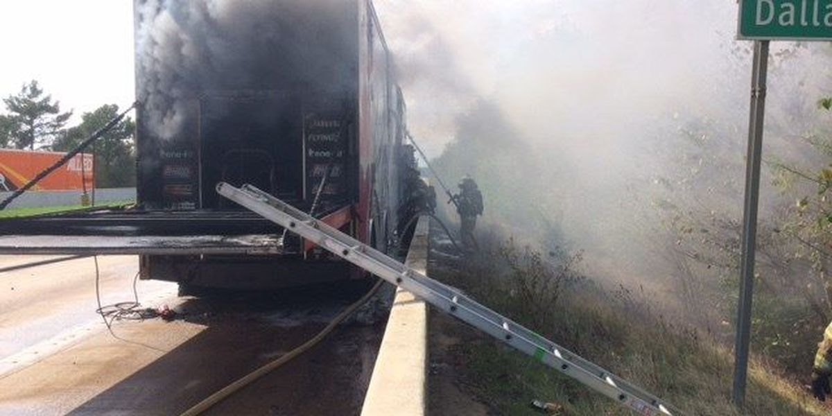 I-20 in Longview reopens after truck hauling NASCAR vehicles catches on fire