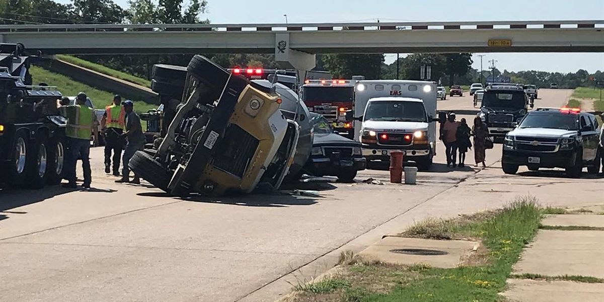 Smith County officials on scene of cement truck rollover