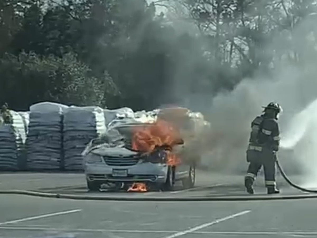 Car goes up in flames in Tyler Lowe's parking lot
