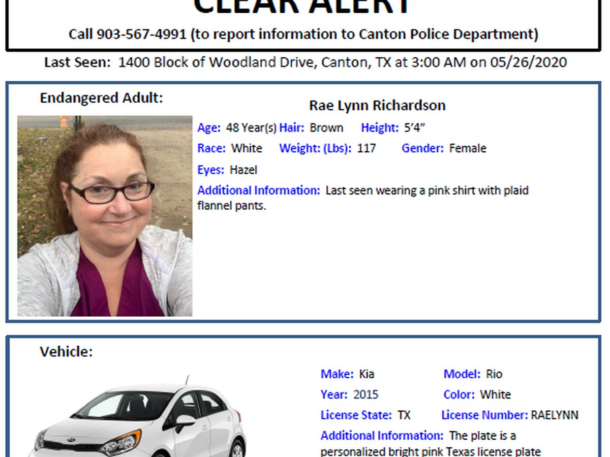 DPS issues CLEAR alert for missing Canton woman