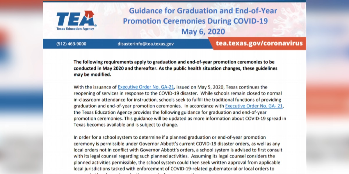 New TEA guidelines for high school graduation